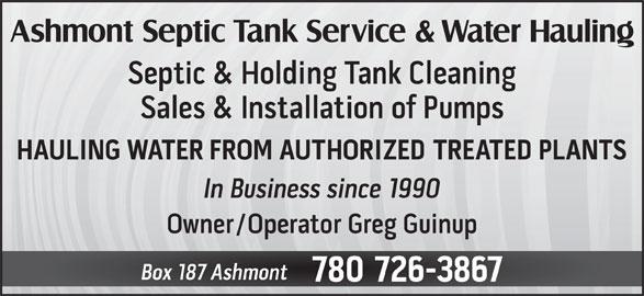 Ashmont Septic Tank Service & Water Hauling (780-726-3867) - Display Ad -