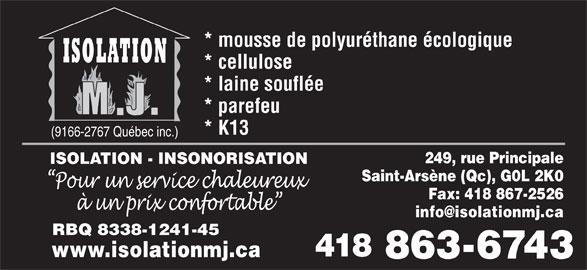 isolation m j 249 rte principale rr 2 saint ars ne qc. Black Bedroom Furniture Sets. Home Design Ideas
