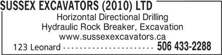 Sussex Excavators (2010) Ltd (506-433-2288) - Annonce illustrée======= -