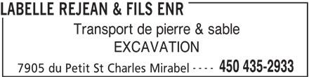 Labelle Réjean & Fils Enr (450-435-2933) - Annonce illustrée======= -