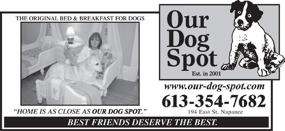 Our Dog Spot (613-354-7682) - Display Ad - HOME IS AS CLOSE AS OUR DOG SPOT 194 East St, Napanee BEST FRIENDS DESERVE THE BEST. THE ORIGINAL BED & BREAKFAST FOR DOGSORIGINAL BED & BREAKFAST FOR DOGS 613-354-7682