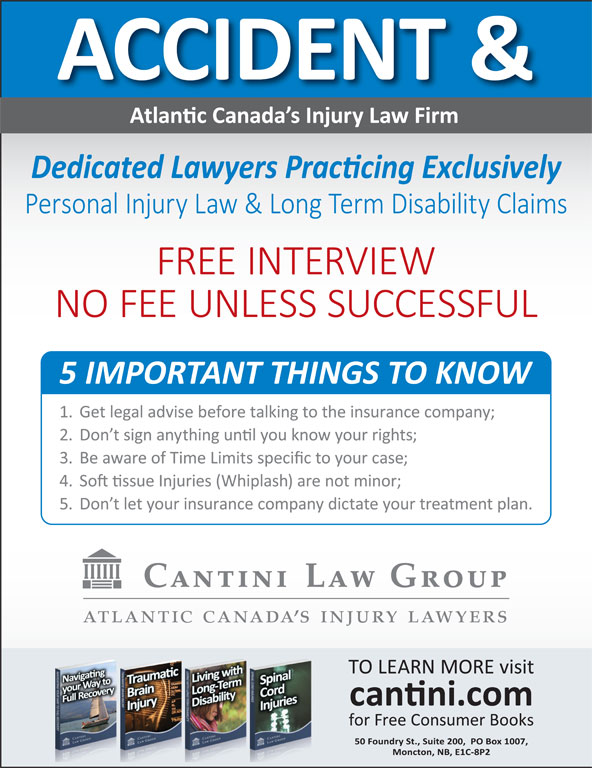 Cantini Law Group Accident and Disability Lawyers (506-867-2529) - Display Ad -