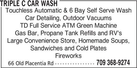 Triple C Car Wash (709-368-9274) - Annonce illustrée======= -