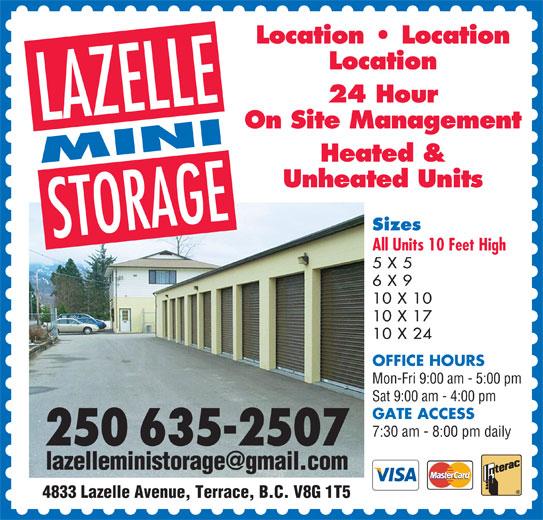 7 X 10 Storage Unit: 4833 Lazelle Ave, Terrace, BC