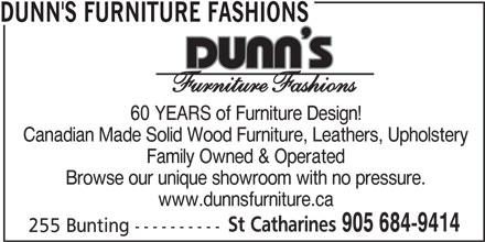 Dunn's Furniture Fashions (905-684-9414) - Annonce illustrée======= -
