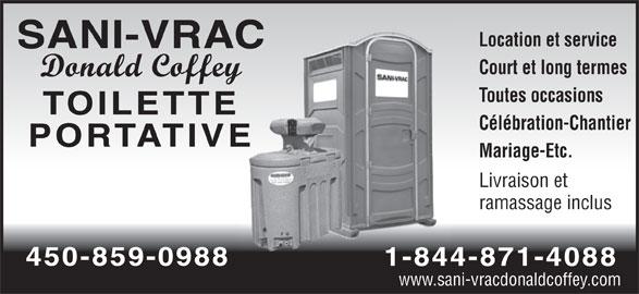 Sani-Vrac Donald Coffey (450-264-2048) - Annonce illustrée======= -