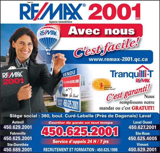 RE/MAX 2001 Inc (450-625-2001) - Annonce illustrée======= -