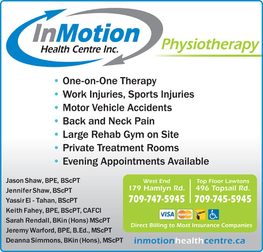 In Motion Health Centre Inc (709-747-5945) - Display Ad -