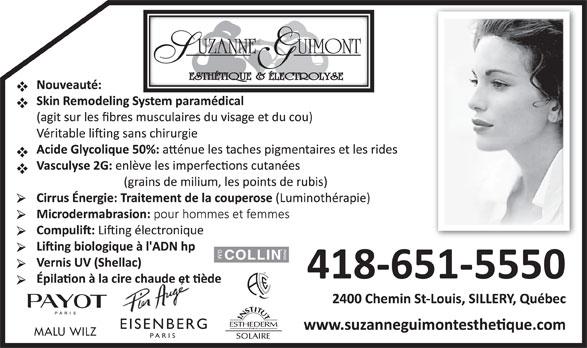 Guimont Suzanne Esthétique & Electrolyse (418-651-5550) - Annonce illustrée======= - EISENBERG MALU WILZ PARIS