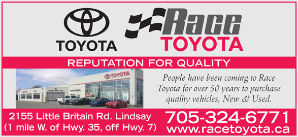 Race Toyota (705-324-6771) - Display Ad -