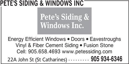 Pete S Siding Amp Windows Inc 22a John St St Catharines On
