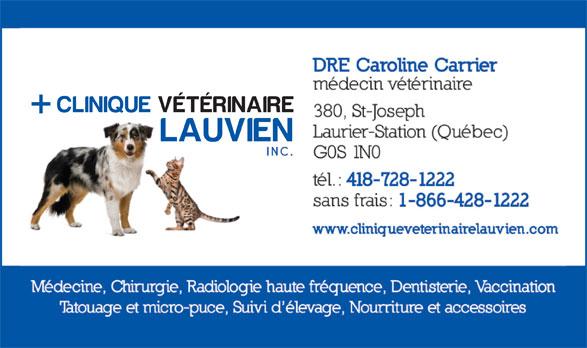 Clinique Vétérinaire Lauvien Inc (418-728-1222) - Annonce illustrée======= -