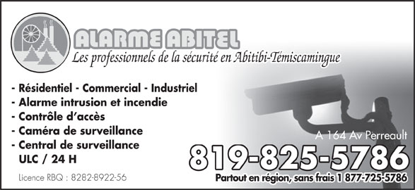 alarme abitel horaire d 39 ouverture 164a av perrault val d 39 or qc. Black Bedroom Furniture Sets. Home Design Ideas