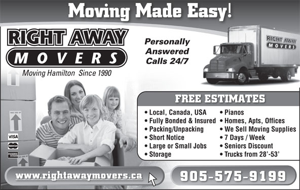 Right Away Movers (905-575-9199) - Display Ad -
