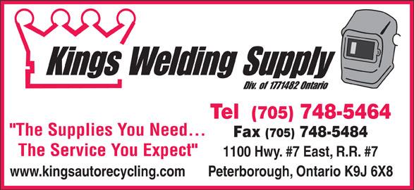 Kings Welding Supply (705-748-5464) - Display Ad -