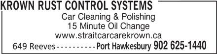 Strait Car Care Auto Detailing &Krown Rust Control (902-625-1440) - Annonce illustrée======= -