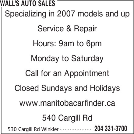 Wall's Auto Sales (204-331-3700) - Display Ad -