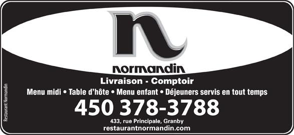Restaurant Normandin (450-378-3788) - Annonce illustrée======= - Menu midi   Table d hôte   Menu enfant   Déjeuners servis en tout temps