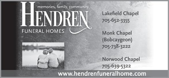 Hendren Funeral Homes - Monk Chapel (705-738-3222) - Display Ad -