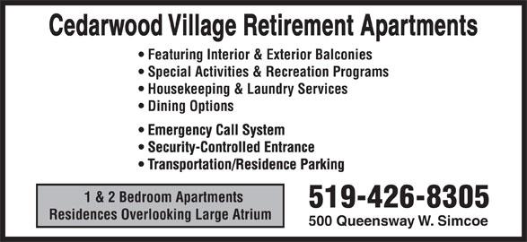 Ads Cedarwood Village Retirement Apartments & Nursing Home