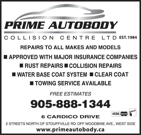 Prime Autobody Collision Centre (905-888-1344) - Display Ad - EST. 1984 www.primeautobody.ca
