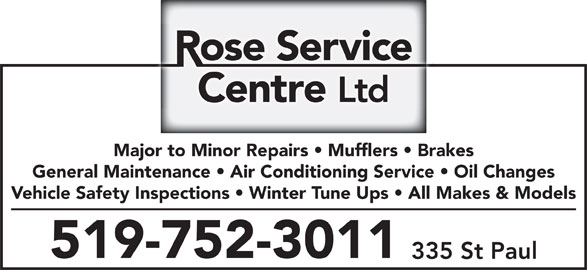 Rose Service Centre Ltd Opening Hours 335 St Paul Ave
