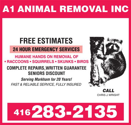 A1 Animal Removal Inc (416-283-2135) - Annonce illustrée======= -