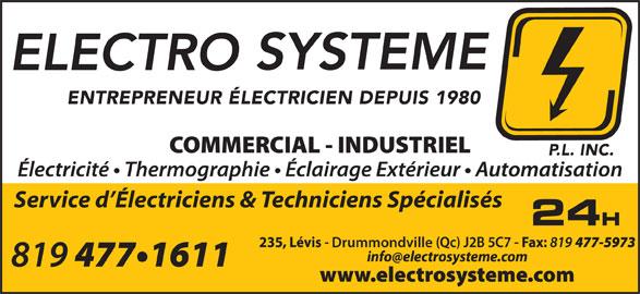 Electro-Système P L Inc (819-477-1611) - Annonce illustrée======= - Drummondville Service d Électriciens & Techniciens Spécialisés