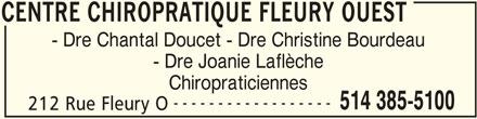 Centre Chiropratique Fleury Ouest (514-385-5100) - Display Ad -