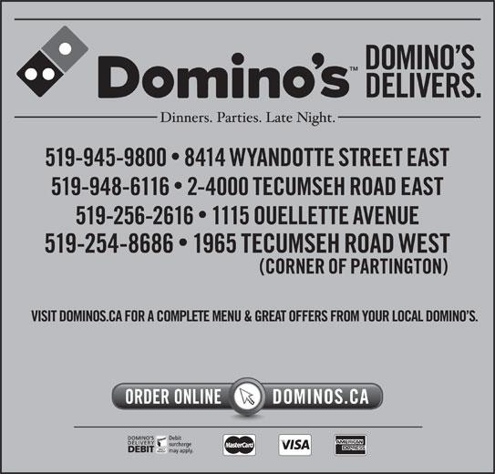 Domino's Pizza (519-945-9800) - Annonce illustrée======= -