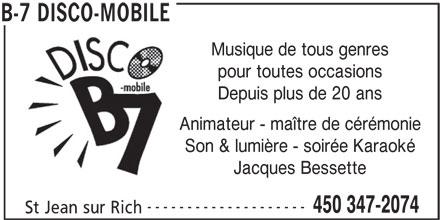 B-7 Disco-Mobile (450-347-2074) - Annonce illustrée======= -
