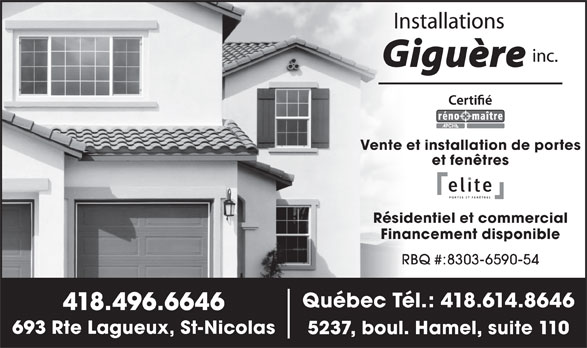 Installations andr gigu re inc qu bec qc 110 5237 for Futura porte et fenetre quebec