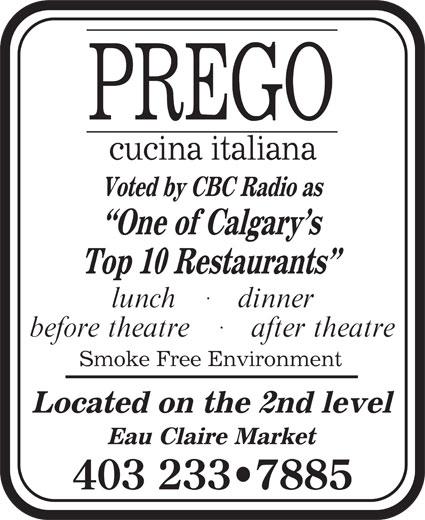 Prego Cucina Italiana (403-233-7885) - Display Ad - 403 233 7885