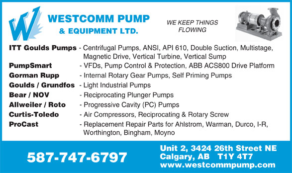 Westcomm Pump & Equipment Ltd (403-215-7867) - Display Ad -