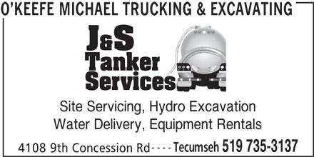 O'Keefe Michael Trucking & Excavating (519-735-3137) - Annonce illustrée======= -