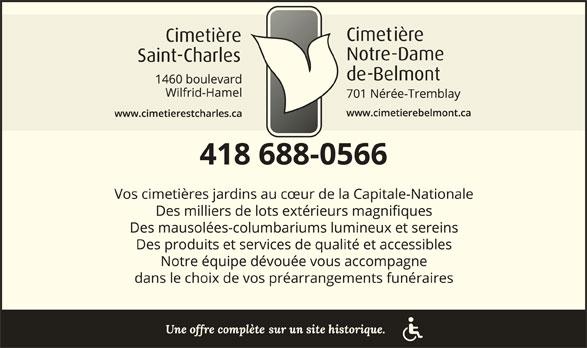 Cimetière Saint-Charles (418-688-0566) - Annonce illustrée======= -