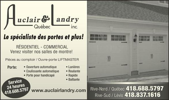 Auclair & Landry Québec Inc (418-688-5797) - Annonce illustrée======= -