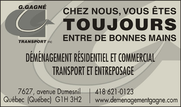 Déménagement Gagné Inc (418-621-0123) - Annonce illustrée======= -