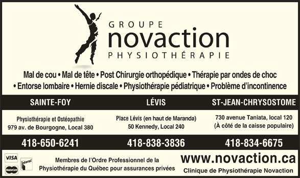 Groupe Novaction Physiothérapie (418-650-6241) - Annonce illustrée======= -