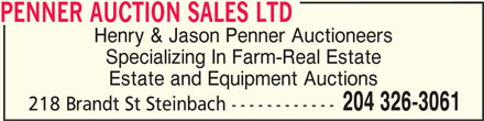 Penner Auction Sales Ltd (204-326-3061) - Display Ad -