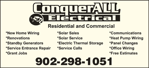 Conquerall Electrical (902-530-2061) - Display Ad - 902-298-1051