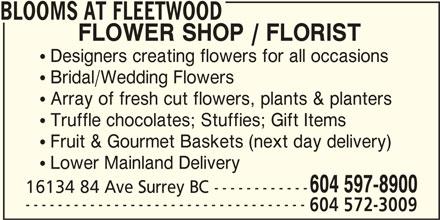 Blooms At Fleetwood (604-597-8900) - Display Ad -