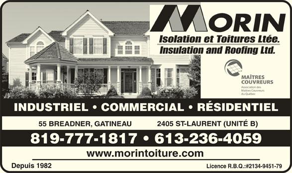 Morin Isolation & Toitures Ltée (819-777-1817) - Annonce illustrée======= -