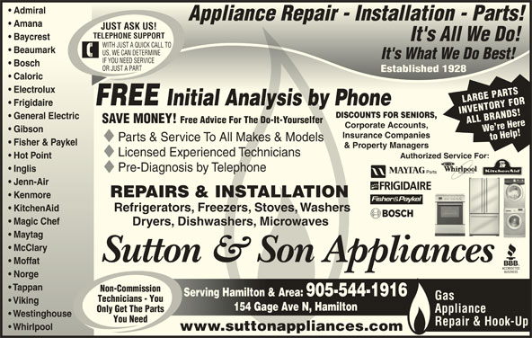 Sutton Amp Son Appliances Opening Hours 154 Gage Ave N