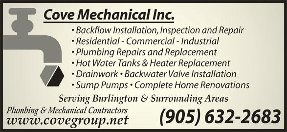 Cove Mechanical (905-632-2683) - Display Ad -