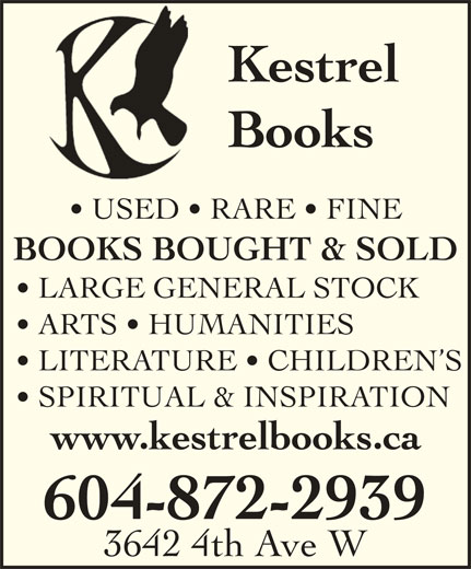 Kestrel Books (604-872-2939) - Display Ad -