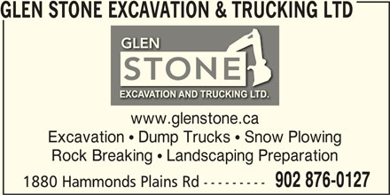 Glen Stone Excavation & Trucking Ltd (902-876-0127) - Annonce illustrée======= -