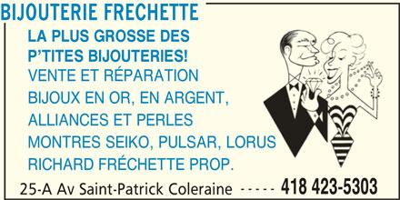 Bijouterie Fréchette (418-423-5303) - Annonce illustrée======= -