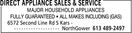 Direct Appliance Sales & Service (613-489-2497) - Annonce illustrée======= - MAJOR HOUSEHOLD APPLIANCES FULLY GUARANTEED ¿ ALL MAKES INCLUDING (GAS)