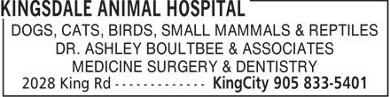 Kingsdale Animal Hospital (905-833-5401) - Display Ad - DOGS, CATS, BIRDS, SMALL MAMMALS & REPTILES DR. ASHLEY BOULTBEE & ASSOCIATES MEDICINE SURGERY & DENTISTRY  DOGS, CATS, BIRDS, SMALL MAMMALS & REPTILES DR. ASHLEY BOULTBEE & ASSOCIATES MEDICINE SURGERY & DENTISTRY